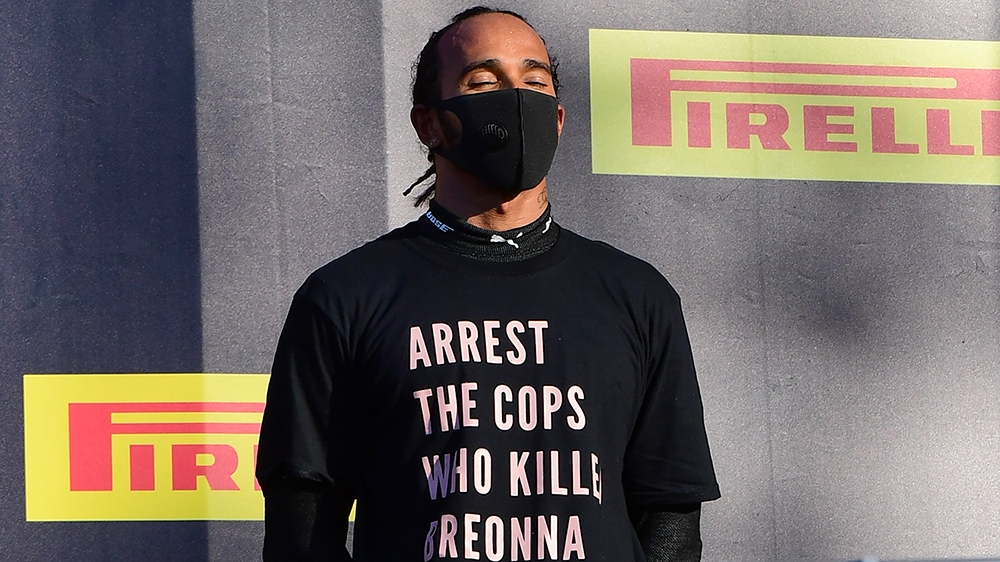 Hamilton wins wild Tuscan GP, demands justice for Breonna Taylor