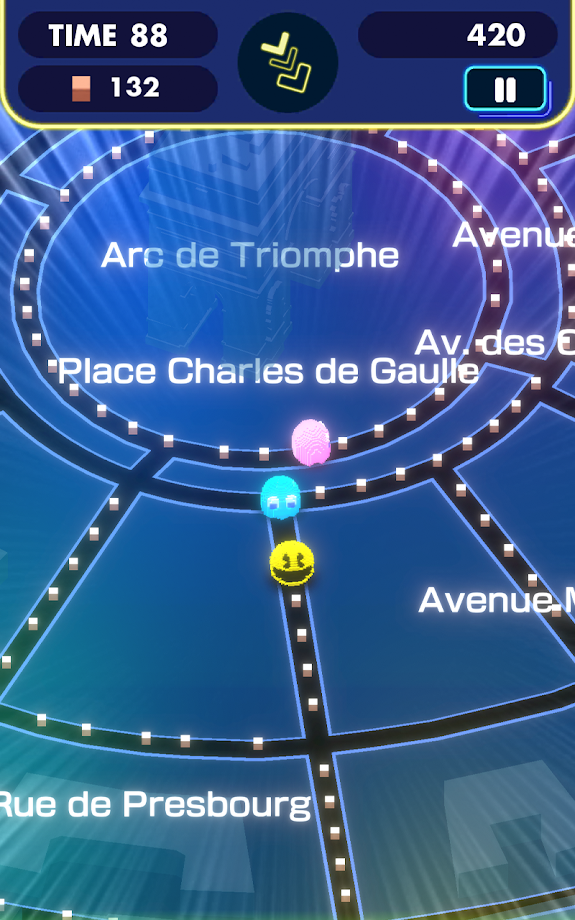 Pac-Man Geo near the Arc de Triomphe in Paris, France