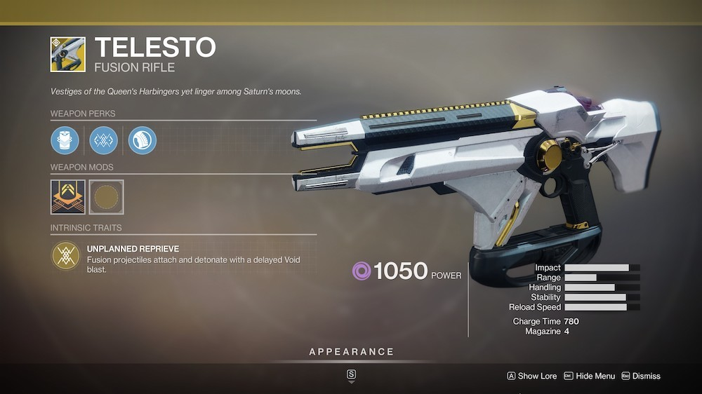 Telesto's sticky fusion projectiles make it great for crowd control and for blowing up unsuspecting Guardians.