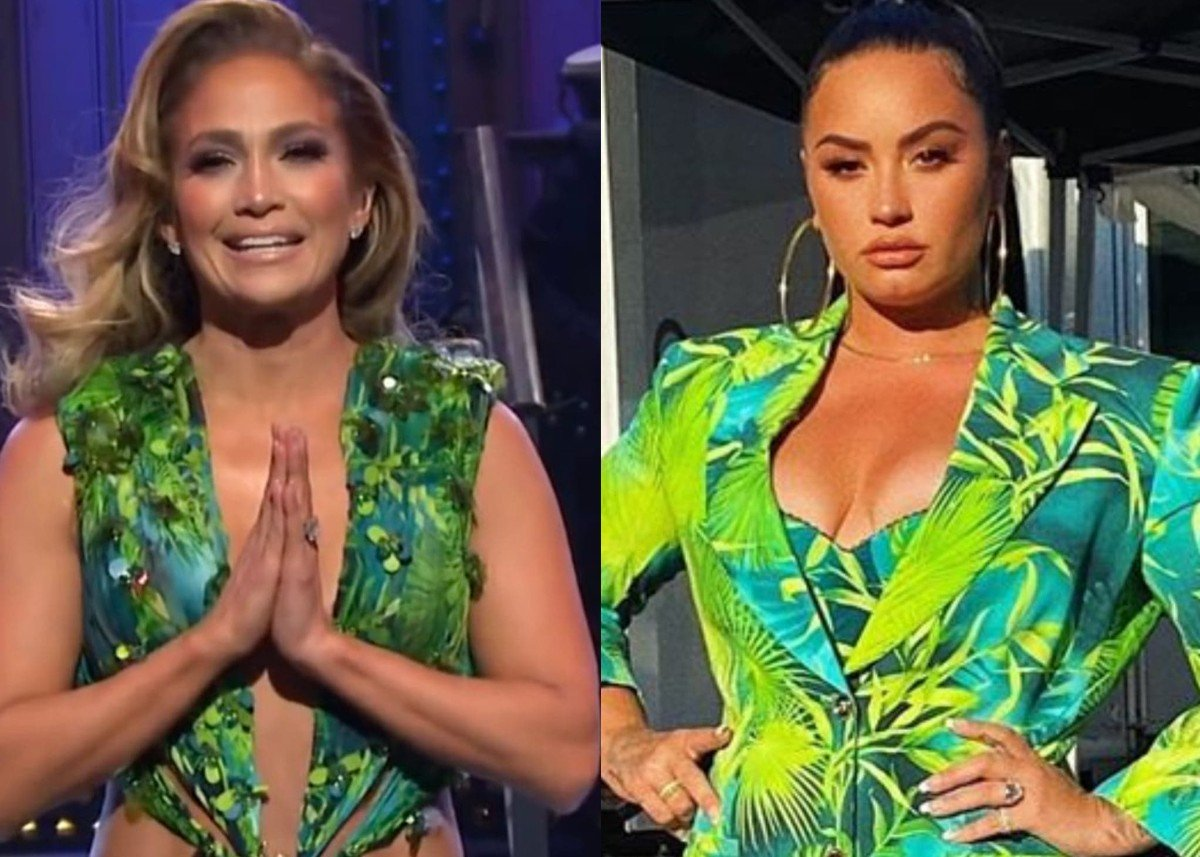 Demi Lovato Looks Exquisite In The Versace Jungle Print That J.Lo Made Famous! — See The Photos!
