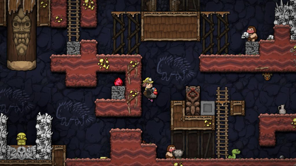 Some turkey-riding action in Spelunky 2