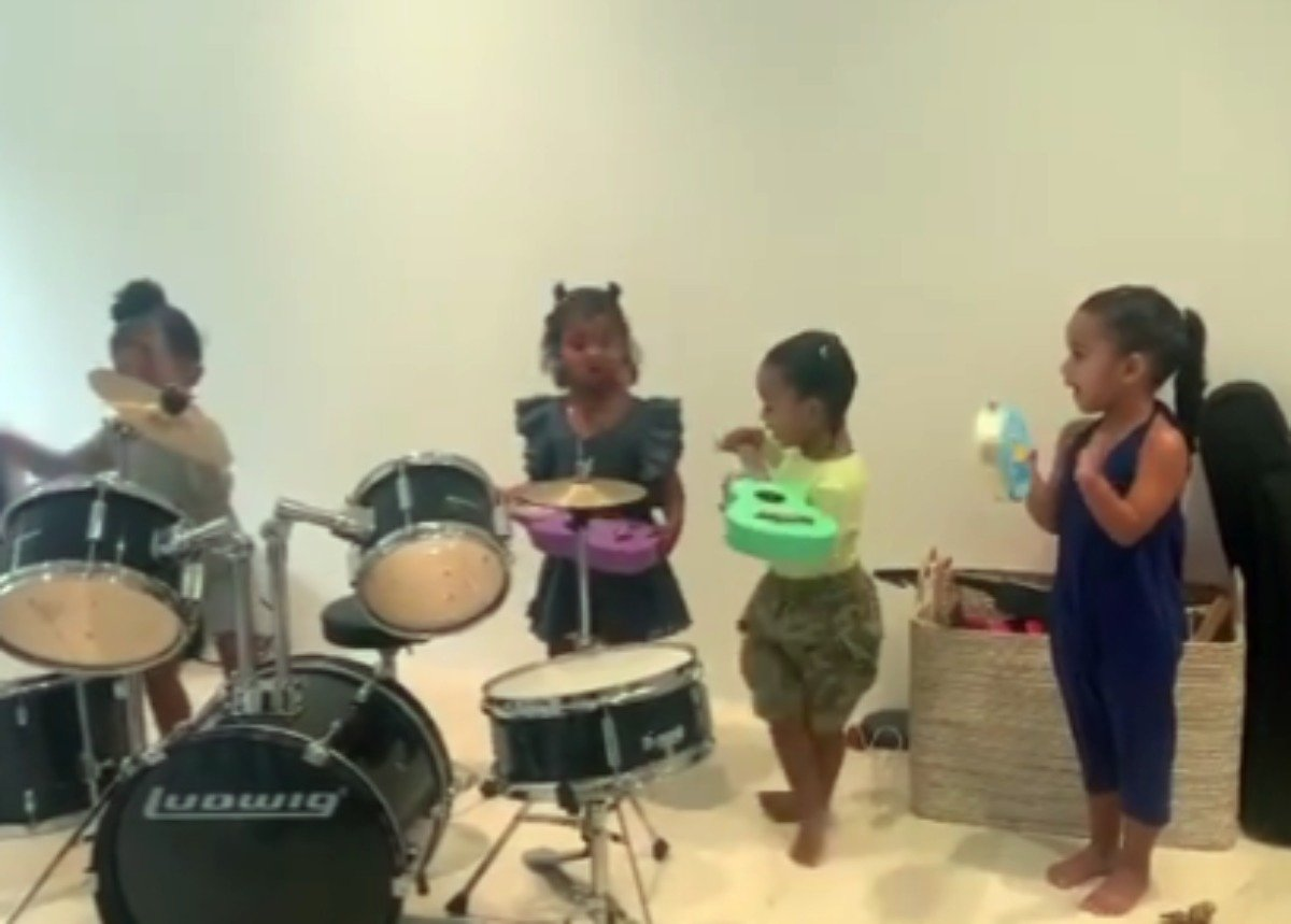 Stormi Webster Is A Natural Drummer As She And Dream Kardashian, Chicago West, And True Thompson Play In A Band And Sing