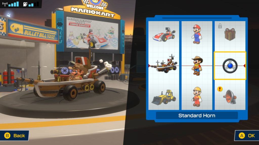 You'll unlock different costumes and kart parts as you collect coins in Mario Kart Live.