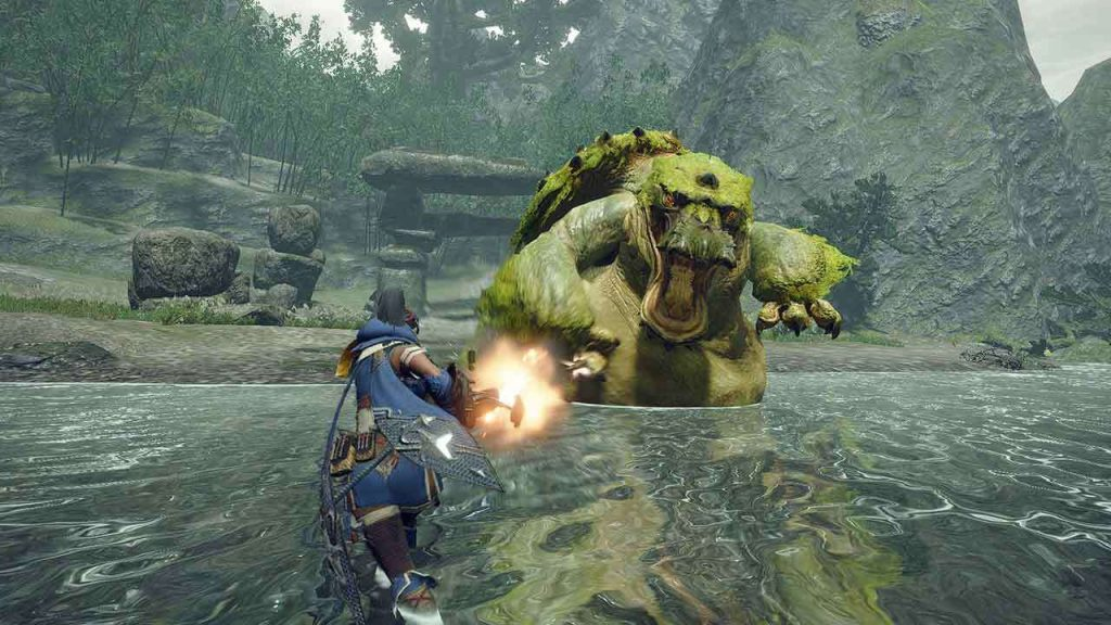 Hunting the Tetranadon, one of the new monsters being introduced in Monster Hunter Rise