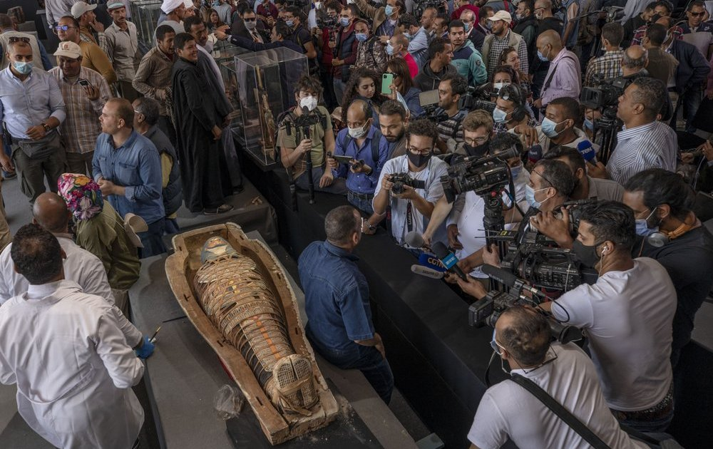 Egypt unveils scores of ancient coffins, statues found in Saqqara