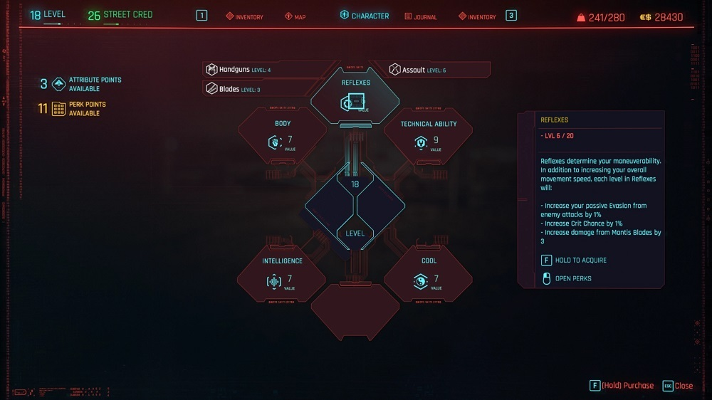 Save some Attribute Points to help you unlock conversation options and pathways during missions--but spend your Perk Points when you get them.