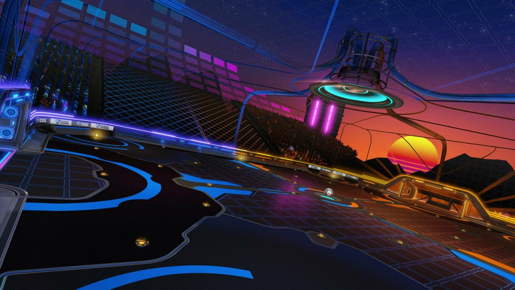 Neon Fields interacts with Rocket League Radio and each individual player's player anthem, reacting to songs as they play.