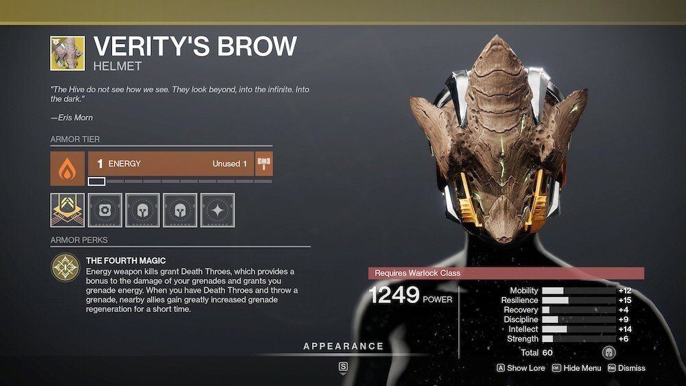 Used correctly, Verity's Brow gives you increased grenade damage, while benefitting your teammates, as well.