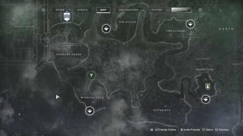 Climb the cliff at the north end of Winding Cove to find Xur.