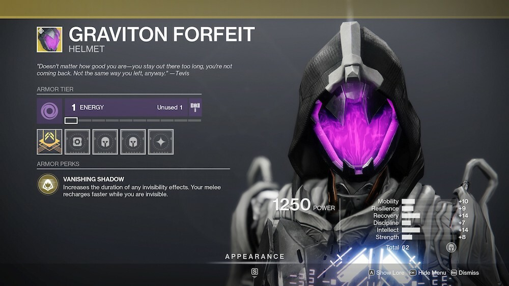 Increase the duration of your invisibility with Graviton Forfeit, which makes it great for staying alive in both PvP and PvE activities.